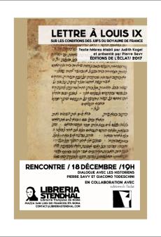 Lettre à Louis IX libreria Stendhal (18 décembre)